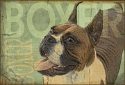 Boxer Digital Art Posters - Vintage Boxer Dog Poster by Wendy Presseisen