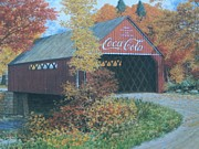 Collectible Art Prints - Vintage Bridge American Coca Cola Print by Jake Hartz