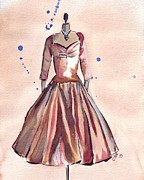 Satin Dress Painting Prints - Vintage Bronze Satin Dress Print by Johanna Pabst