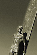 Santa Cruz Surfing Metal Prints - Vintage Bronze Surfer Metal Print by Paul Topp