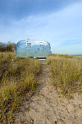 Trailer Posters - Vintage Camping Trailer Near the Sea Poster by Jill Battaglia