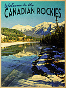 Canadian Digital Art Posters - Vintage Canadian Rockies Poster by Vintage Poster Designs