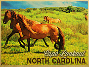 Wild Horses Framed Prints - Vintage Cape Lookout North Carolina Framed Print by Vintage Poster Designs