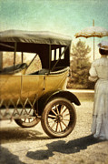 Ford Model T Car Posters - Vintage Car and Lady with Parasol Poster by Jill Battaglia
