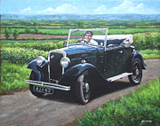 Black Top Painting Posters - Vintage Car Austin 7 Poster by Martin Davey