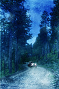 Dirt Road Posters - Vintage Car on Dirt Road in Woods Poster by Jill Battaglia