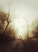 Old Roadway Photo Framed Prints - Vintage Car on Foggy Rural Road Framed Print by Jill Battaglia