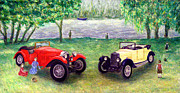Ronald Haber Framed Prints - Vintage Car Picnic Framed Print by Ronald Haber
