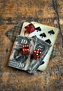 Playing Cards Framed Prints - Vintage Cards Dice and Cash Framed Print by Jill Battaglia