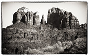 Brown Toned Framed Prints - Vintage Cathedral Rock Framed Print by John Rizzuto