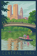 Row Boat Digital Art Prints - Vintage Central Park Print by Mitch Frey