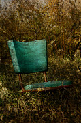 Cards Vintage Metal Prints - Vintage Chair Metal Print by Larysa Luciw