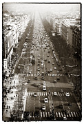 Elysees Posters - Vintage Champs Elysees Poster by John Rizzuto
