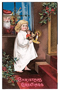 Child With Teddy Bear Framed Prints - Vintage Christmas Greetings Framed Print by Unknown