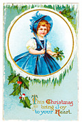 Little Girl Prints - Vintage Christmas Joy Print by Unknown
