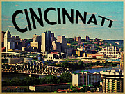 Cincinnati Digital Art Framed Prints - Vintage Cincinnati Skyline Framed Print by Vintage Poster Designs