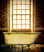 Bathtub Posters - Vintage Clawfoot Bathtub by Window Poster by Jill Battaglia