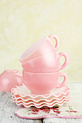 Teacup Photo Acrylic Prints - Vintage Coffee Cups Acrylic Print by Stephanie Frey