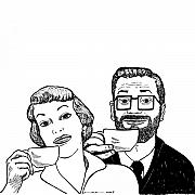 Coffee Drawings Prints - Vintage Coffee Time Print by Karl Addison