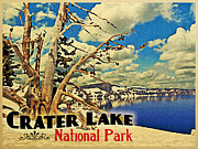 Crater Lake National Park Prints - Vintage Crater Lake Snow Scene Print by Vintage Poster Designs