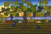 Vineyard Landscape Prints - Vintage Crow Print by Stacey Neumiller