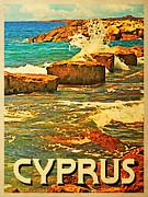 Vintage Cyprus Rocky Shore Print by Flo Karp