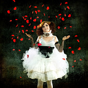 Rose Petals Posters - Vintage Dancer Series Raining Rose Petals  Poster by Cindy Singleton