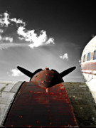 Vintage Digital Art Metal Prints - Vintage Dc-3 Aircraft  Metal Print by Steven  Digman