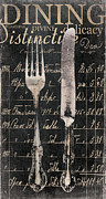 Dining Painting Framed Prints - Vintage Dining Utensils in Black  Framed Print by Grace Pullen