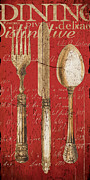 Antique Table Framed Prints - Vintage Dining Utensils in Red Framed Print by Grace Pullen