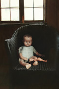 Atmosphere Photos - Vintage dolls on chair in dark room by Sandra Cunningham