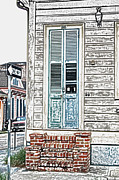 Wooden Stairs Digital Art Prints - Vintage Dual Color Wooden Door and Brick Stoop French Quarter New Orleans Colored Pencil Digital Art Print by Shawn OBrien