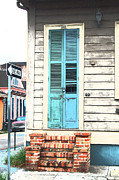 Wooden Stairs Digital Art Prints - Vintage Dual Color Wooden Door and Brick Stoop French Quarter New Orleans Film Grain Digital Art Print by Shawn OBrien