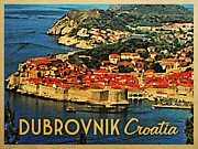 Dubrovnik Acrylic Prints - Vintage Dubrovnik Croatia  Acrylic Print by Vintage Poster Designs