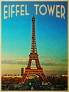 Vintage Eiffel Tower Metal Prints - Vintage Eiffel Tower Metal Print by Vintage Poster Designs