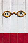 Humor Prints - Vintage eye sign on wooden wall Print by Garry Gay