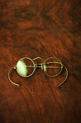 Antique Table Framed Prints - Vintage Eyeglasses Framed Print by Jill Battaglia