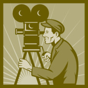 Camera Posters - Vintage film camera director Poster by Aloysius Patrimonio