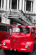 French Cars Prints - Vintage Fire Truck Duo Tone Print by Tony Grider