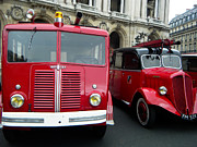 French Cars Prints - Vintage Fire Truck Duo Print by Tony Grider