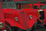 French Cars Prints - Vintage Fire Truck Techno Art Print by Tony Grider