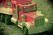 Toy Truck Framed Prints - Vintage Fire Truck Toy Framed Print by Sophie Vigneault