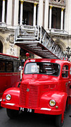 French Cars Prints - Vintage Fire Truck with Ladder Print by Tony Grider