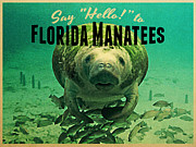 Sea Creatures Framed Prints - Vintage Florida Manatees Framed Print by Vintage Poster Designs