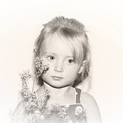 Sad Face Posters - Vintage Flower Girl Poster by Tracie Kaska