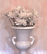 Mums Digital Art Framed Prints - Vintage Flower Pot Framed Print by Marsha Heiken