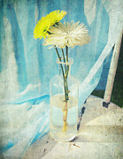 Pleasant Mixed Media Posters - Vintage flowers in a bottle vase sunny still life print Poster by Svetlana Novikova