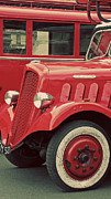 French Cars Prints - Vintage French Delahaye Fire Truck  Print by Tony Grider