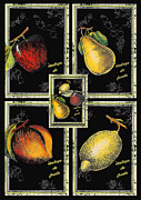 Bistro Framed Prints - Vintage French Fruit Bistro Framed Print by ArtyZen Studios