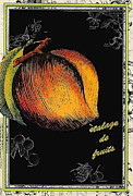 Bistro Posters - Vintage French Peach Poster by Anahi DeCanio